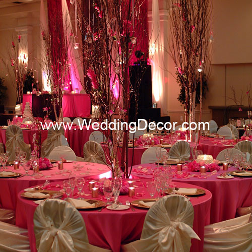 Pink And Brown Wedding Ideas: Brown & Fuchsia Wedding Reception - Cluster Tables