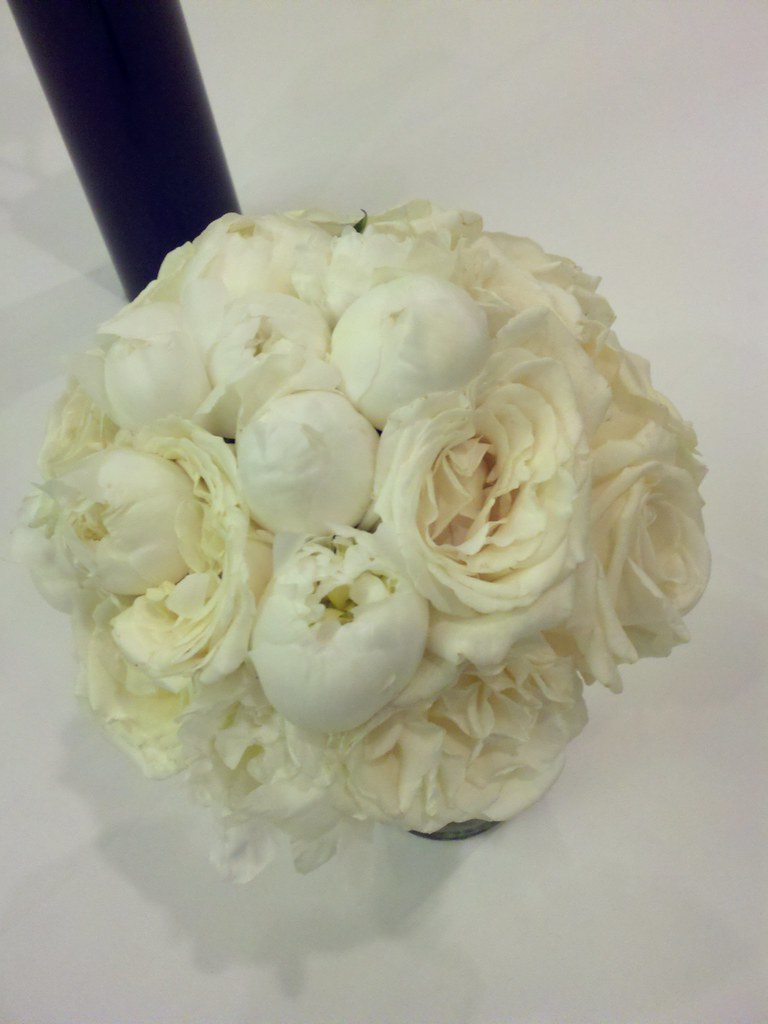 white peony and white garden rose bridal bouquet by dream designs florist - Garden Rose And Peony
