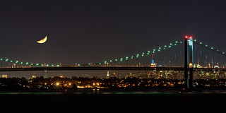 Moon Over Throgs Neck Bridge | by mandalit