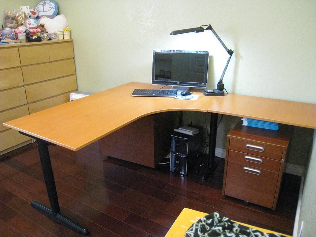 beech veneer ikea l shape office table desk sturdy 180 flickr
