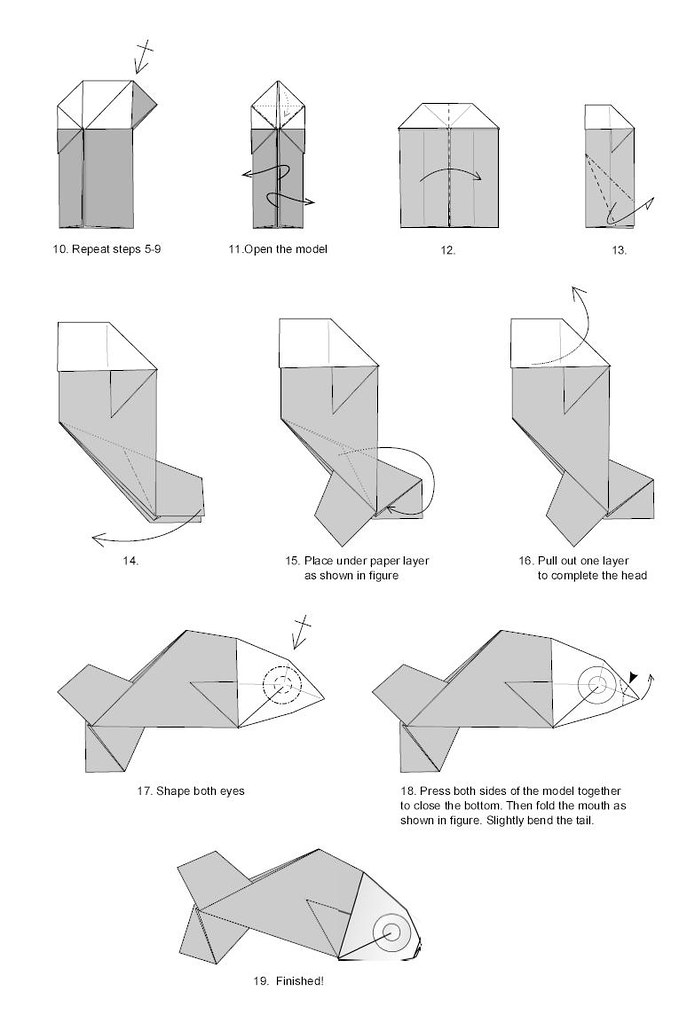 Diagrams Of Origami Fish Block And Schematic Diagrams