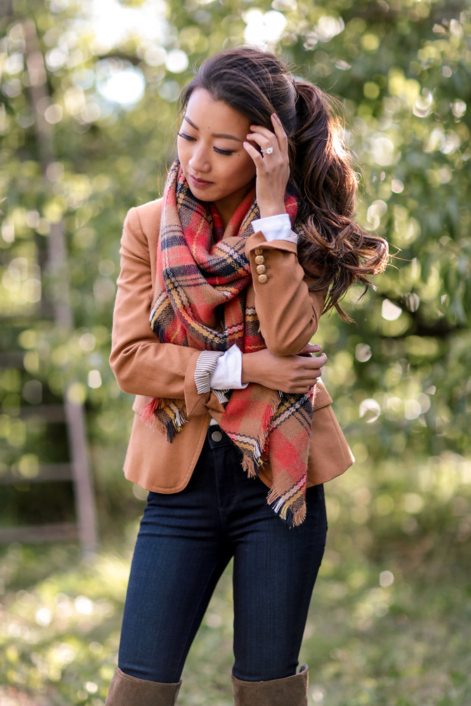 fall outfit jcrew camel blazer nordstrom plaid blanket scarf