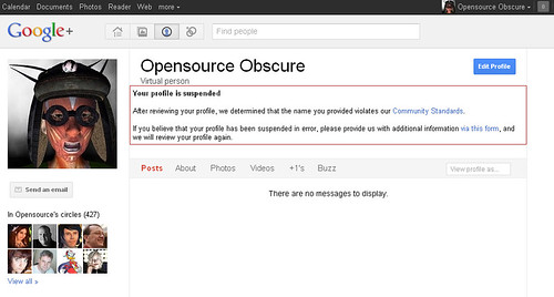 My Google+ Profile has been suspended because I'm using my Second Life avatar identity | by Opensource Obscure