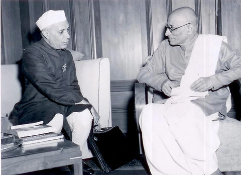 Jawaharlal Nehru, the first prime minister of India, in co