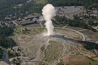 Aerial view of Old Faithful Geyser and Old Faithful Lodge | by YellowstoneNPS