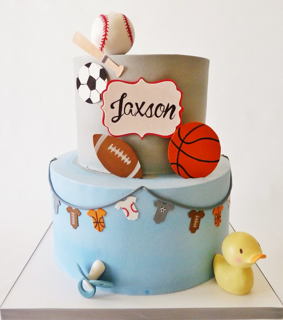 ... Sports Themed Baby Shower Cake | By Tuff Cookie Cakes By Sylvia