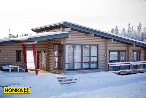 Honka chalet en rondin toit plat honka maison bois flickr for Chalet bois toit plat