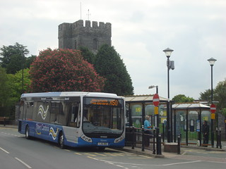 TrawsCambria X50 bus in Cardigan, note the branding on the bus does not include New Quay, because the route didn't.