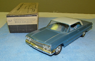 1963 Chevrolet Impala Super Sport Hardtop Promo Model Car - Ermine White over Silver Blue Poly | by coconv