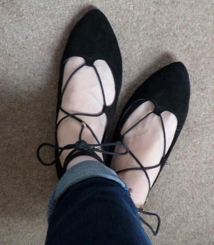 Primark black lace up flat shoes