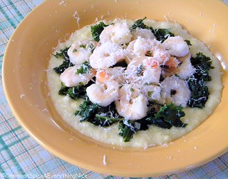 Lemon Garlic Shrimp Scampi with Kale and Polenta | by CinnamonKitchn