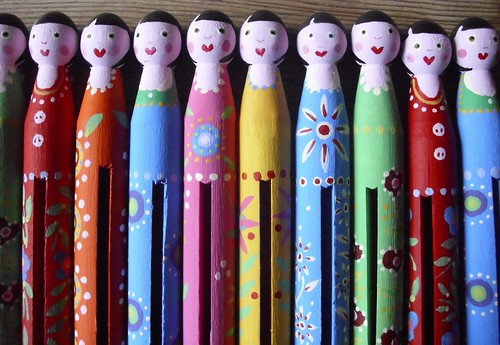 Folk art peg dolls 2 | by orangetadpole
