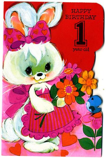 Vintage Greetings Card Happy Birthday 1 Year Old Flickr