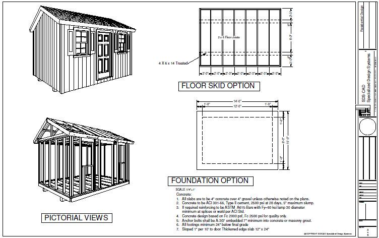 specialized design system llc g473 10 x 14 x 8 garden shed plans by - Garden Sheds 8 X 14