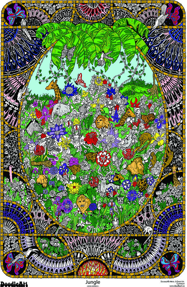 Doodle Art Jungle Coloring Page Poster | This impressive Doo… | Flickr