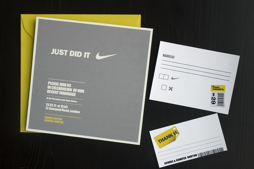 Just did it - Wedding (reception) invitation set | Does Nike… | Flickr