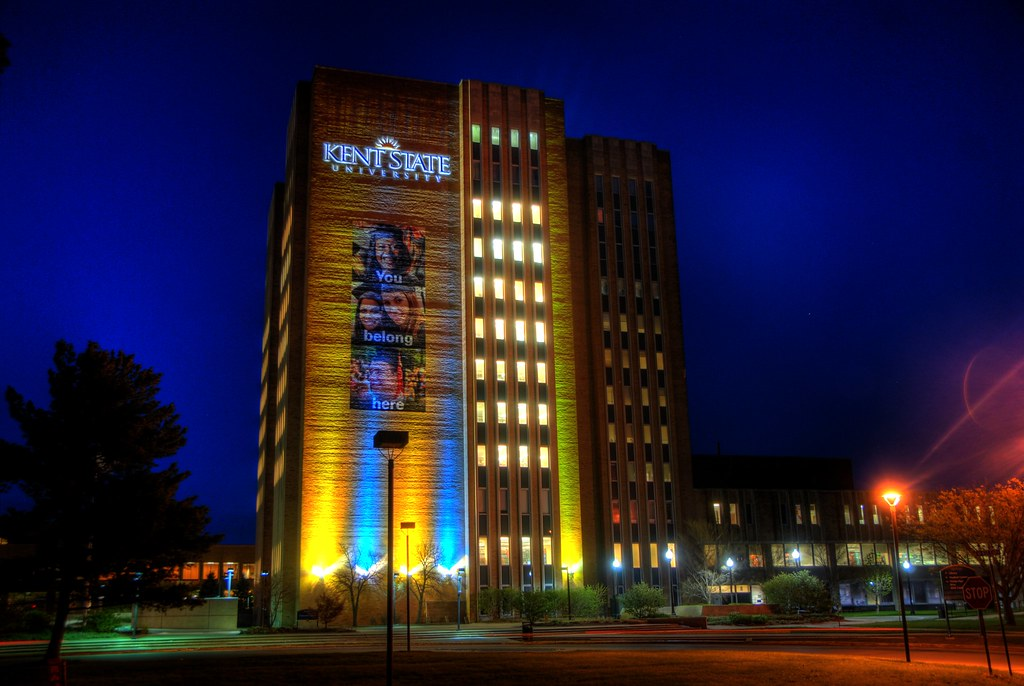 Kent state library at night