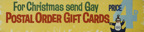 For Christmas send gay Postal Order gift cards. 4d each with envelope (1961) | by The Postal Museum