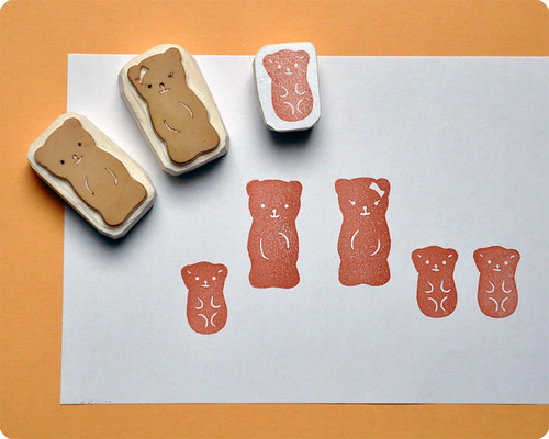 Petit Ourson Guimauve Hand Carved Rubber stamp set | by Memi The Rainbow