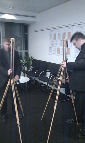 Matt and Alex preparing for art at book launch | by markhillary