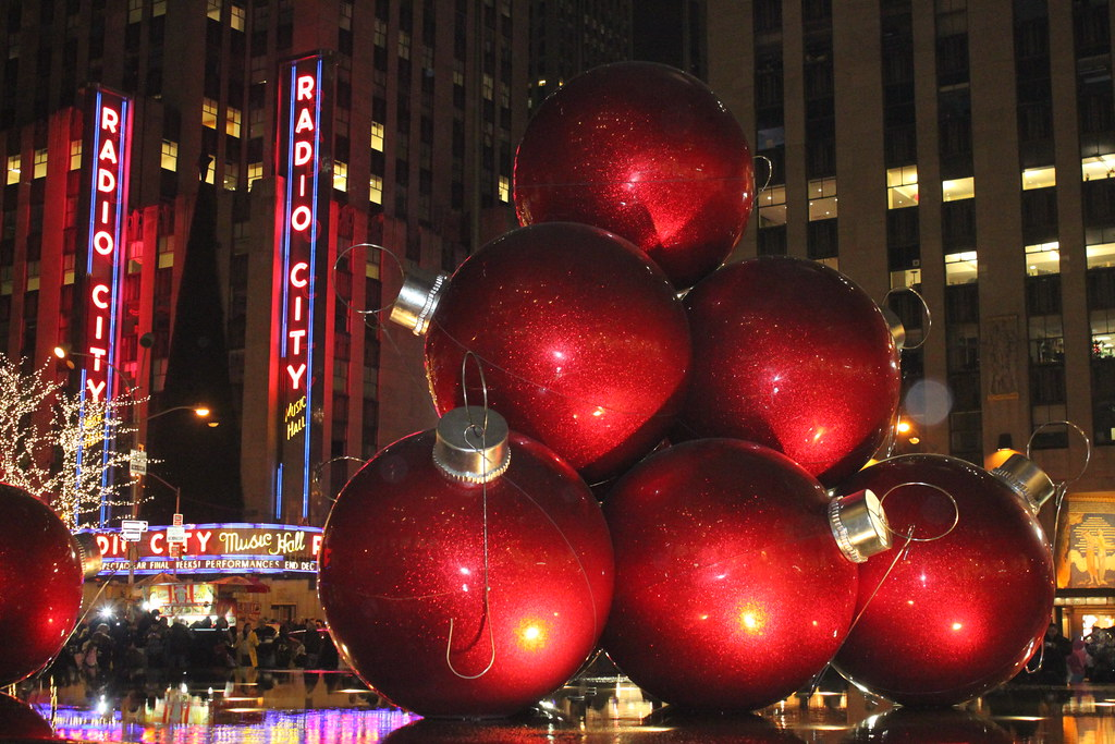... Some big red Christmas tree ornaments by Radio City in NYC   by Hazboy - Some Big Red Christmas Tree Ornaments By Radio City In NYC… Flickr