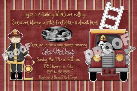 ... Fire Truck Firetruck Fireman Ultrasound Baby Shower Invitation | By  Poshnchicprints.com