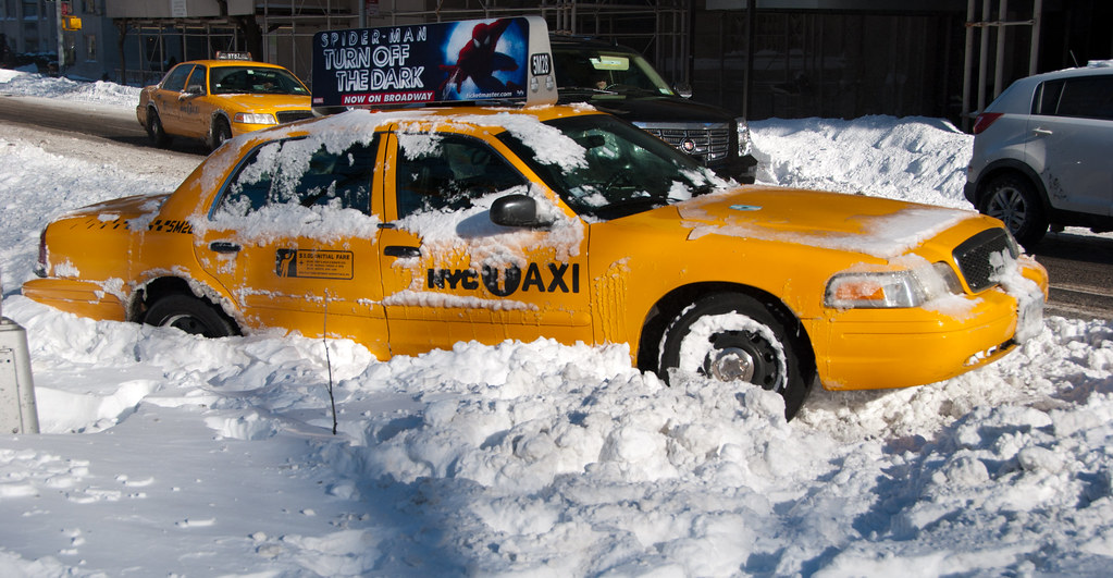 Globalviewfinder Abandoned Taxi Stuck In Snow By Globalviewfinder