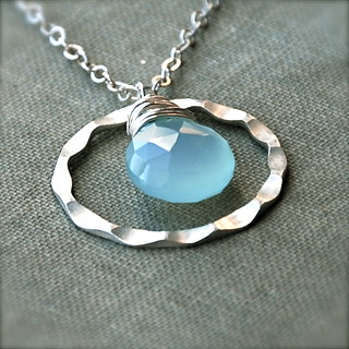 Open Air Necklace - Blue Chalcedony and Sterling Silver | by SMJjewelry
