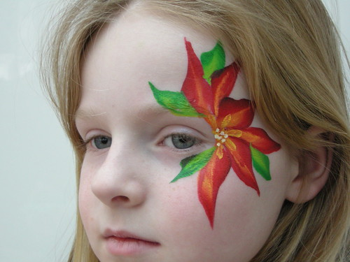 christmas flower face painting. Black Bedroom Furniture Sets. Home Design Ideas