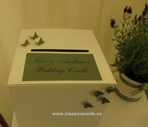 White Wedding Post Box: Classic Events Butterfly Themed Country Wedding Post Box