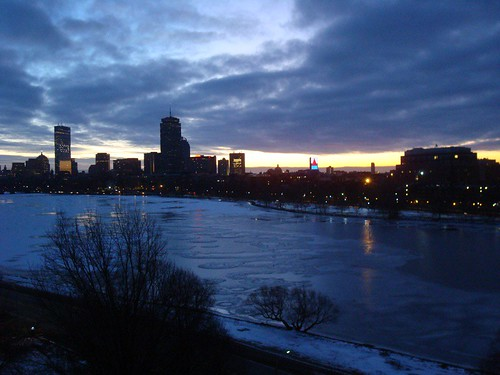 Sunrise over the almost frozen Charles River, Cambridge to Boston | by matt707