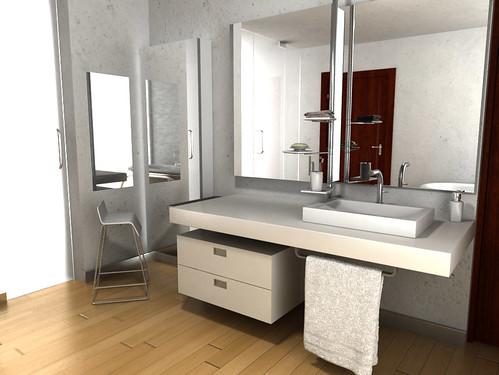 Dise o de mueble para lavabo empotrado espejo y accesorio for Mueble lavabo pedestal