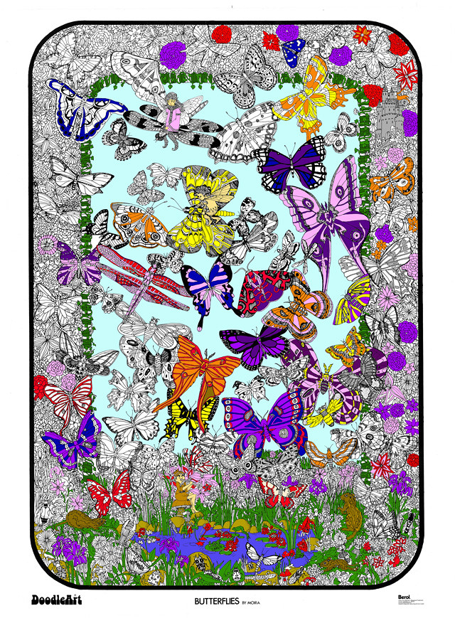Doodle Art Butterflies Fairies Coloring Page Poster | Flickr