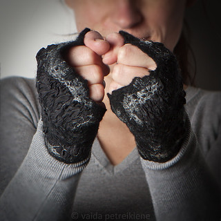 Nuno Felted Arm Warmers / Fingerless Gloves | by <vaida>