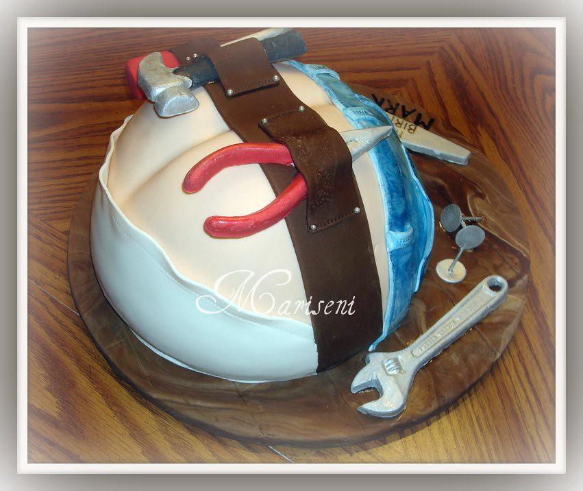 Construction Worker Butt Crack Birthday Cake Vanilla Cak Flickr