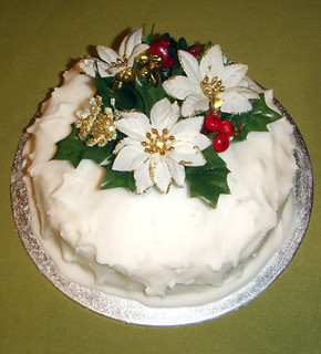 Xmas Cake With Frosty Icing And Silver Balls