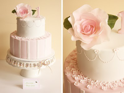 Sophias vintage rose first birthday cake Two tier chocola Flickr