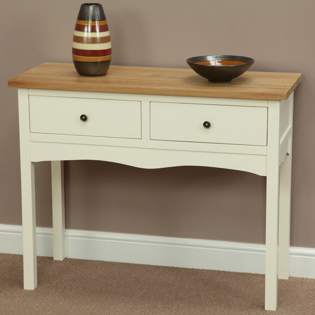 Superior ... Cotswold Cream Painted Shaker Solid Oak Console / Hall Table | By Oak  Furniture Land