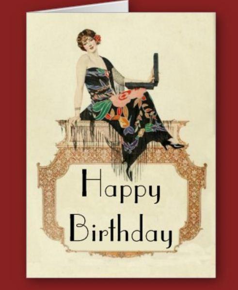 Art Deco Lady With A Laptop Birthday Card Zazzlea Flickr