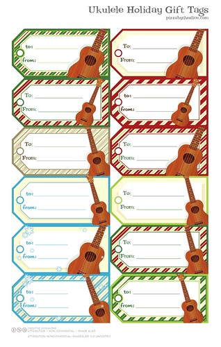 Papercraft Ukulele Holiday Gift Tags | by Buz Carter