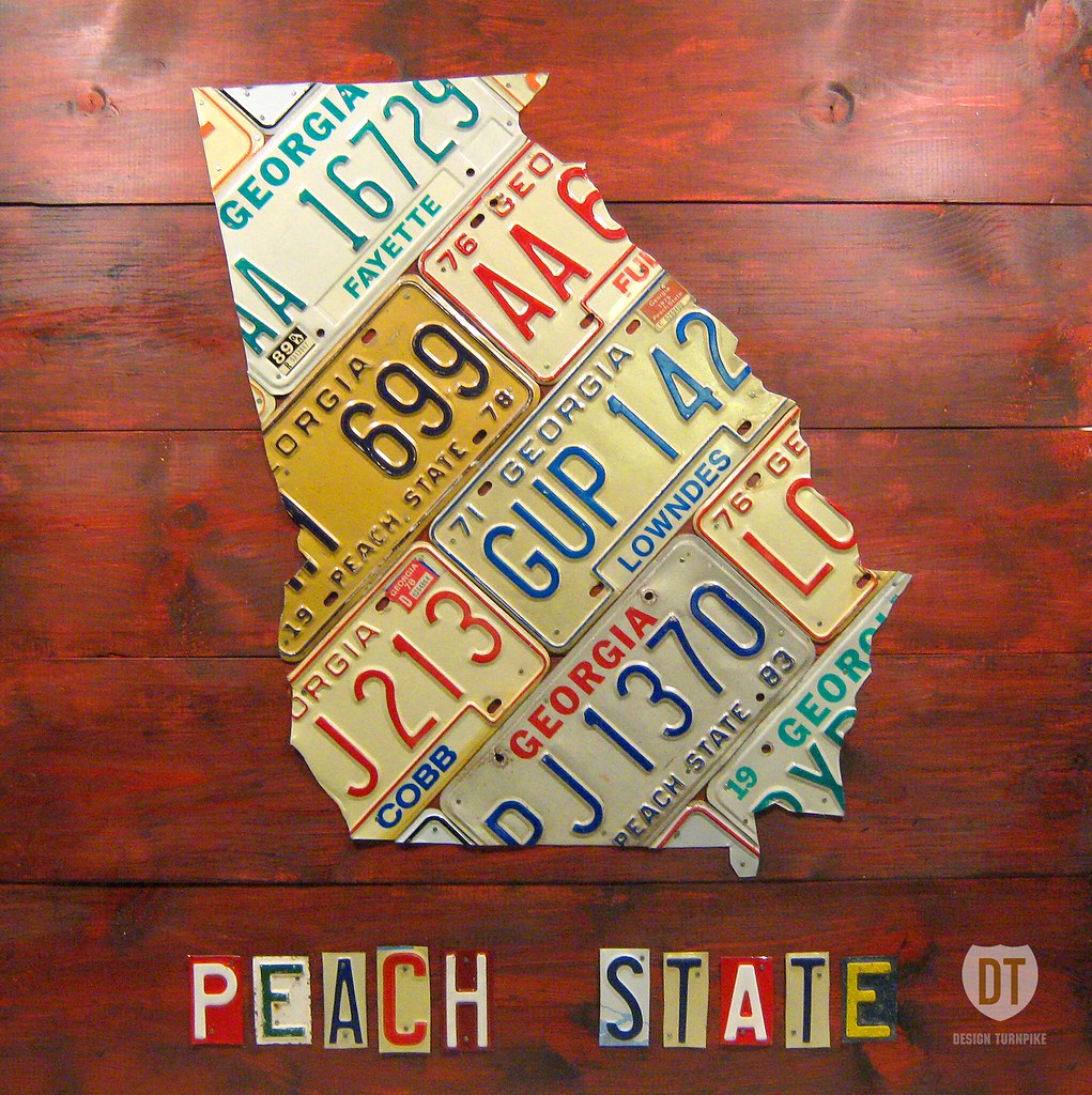 License Plate State Map.Georgia License Plate Map Art The Peach State Lives On Rec Flickr