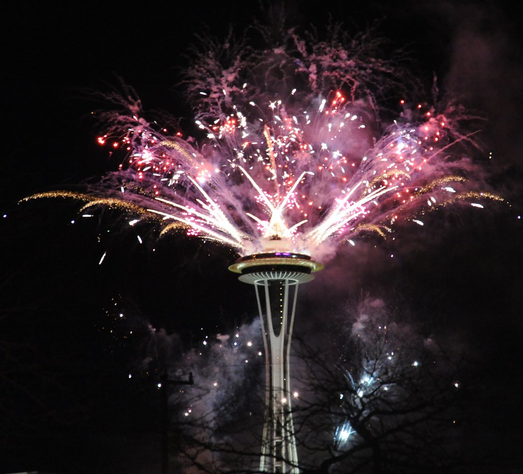 happy new year from seattle washingtons space needle usa pink and white