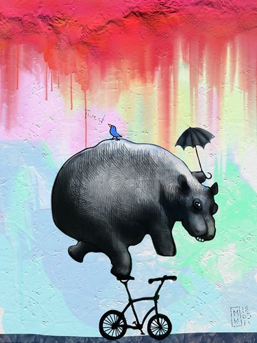 Sometimes life is like tweeting from the back of a bicycle riding hippo with an umbrella in his hand | by Matthew Watkins
