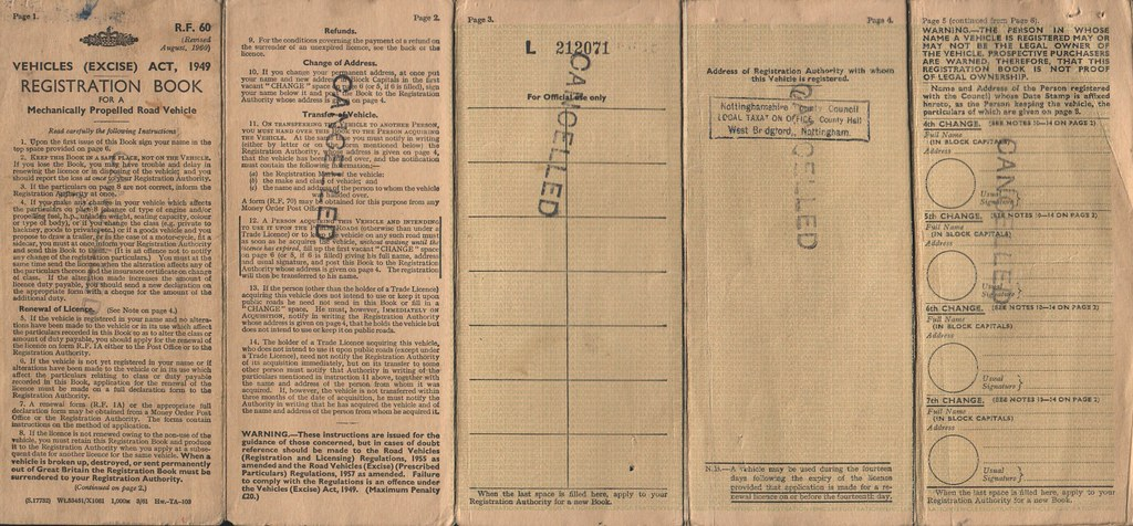 Old Style Buff Vehicle Registration Document / \