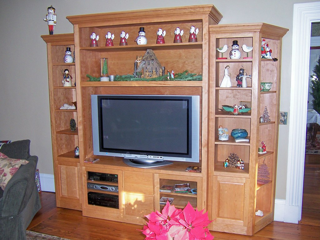 Kmd Custom Woodworking Cherry Tv Stand With Side Bookcase Flickr