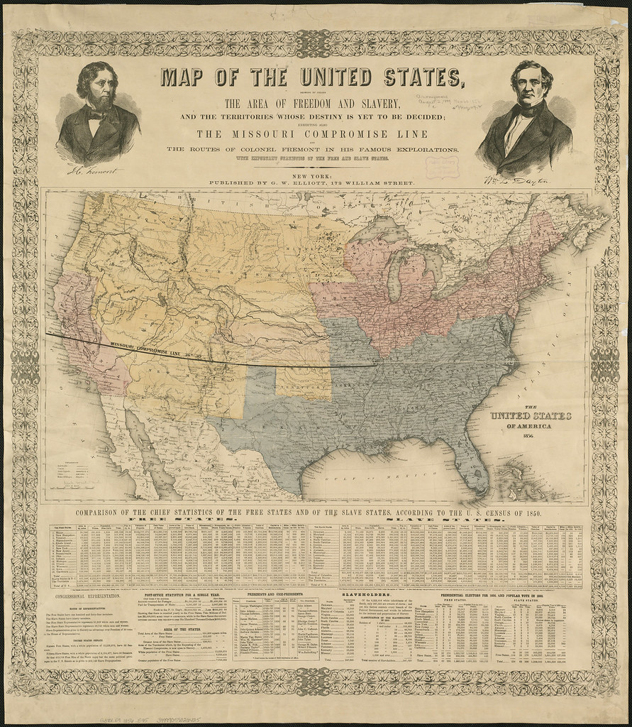 1856 Map showing Free, Slave and territories | Uses Missouri… | Flickr
