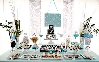 Tiffany Blue & Zebra Stripe Dessert Table | by The Couture Cakery