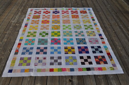 rainbow 9-patch quilt top | by vickivictoria