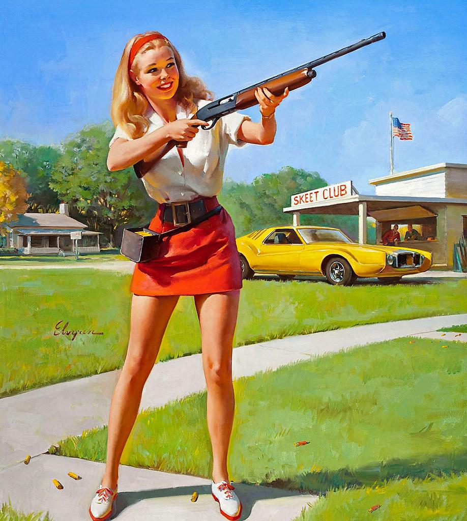 1974  nice girls have shotguns! | artist- elvgren | james vaughan
