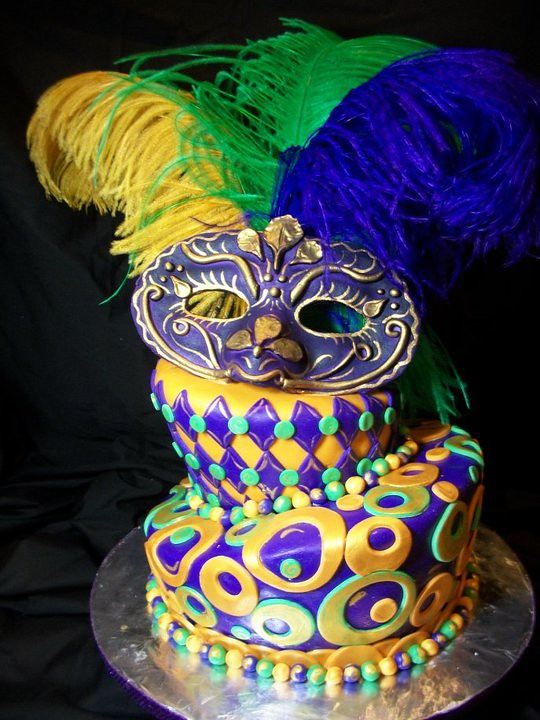 Mardi Gras Birthday Cake Hand Made Gumpaste Mask Topsy Tur Flickr